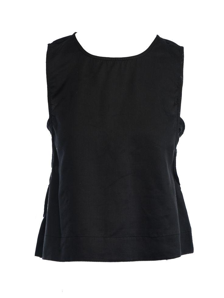 Tencel Sleeveless Top in Black