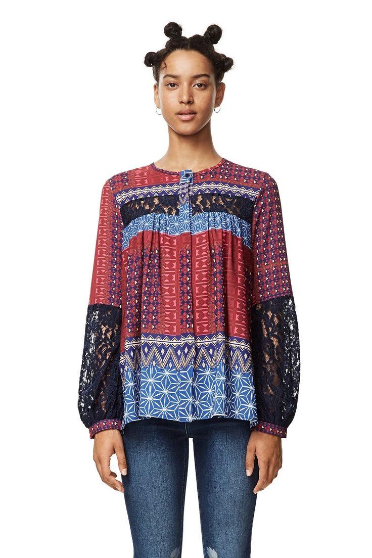 Chemise à manches longues Mona Fucsias Desigual pas cher prix Desigual 99.95 €