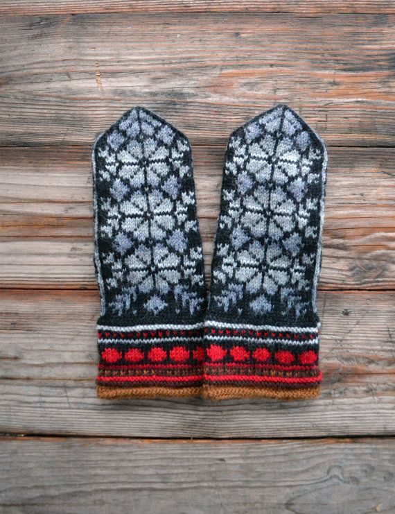 Gray and Black Wool Mittens - Floral Mittens - Nature Inspired Gloves - Scandinavian mittens - Knit Wool Mittens  nO 53. on Etsy, $37.00