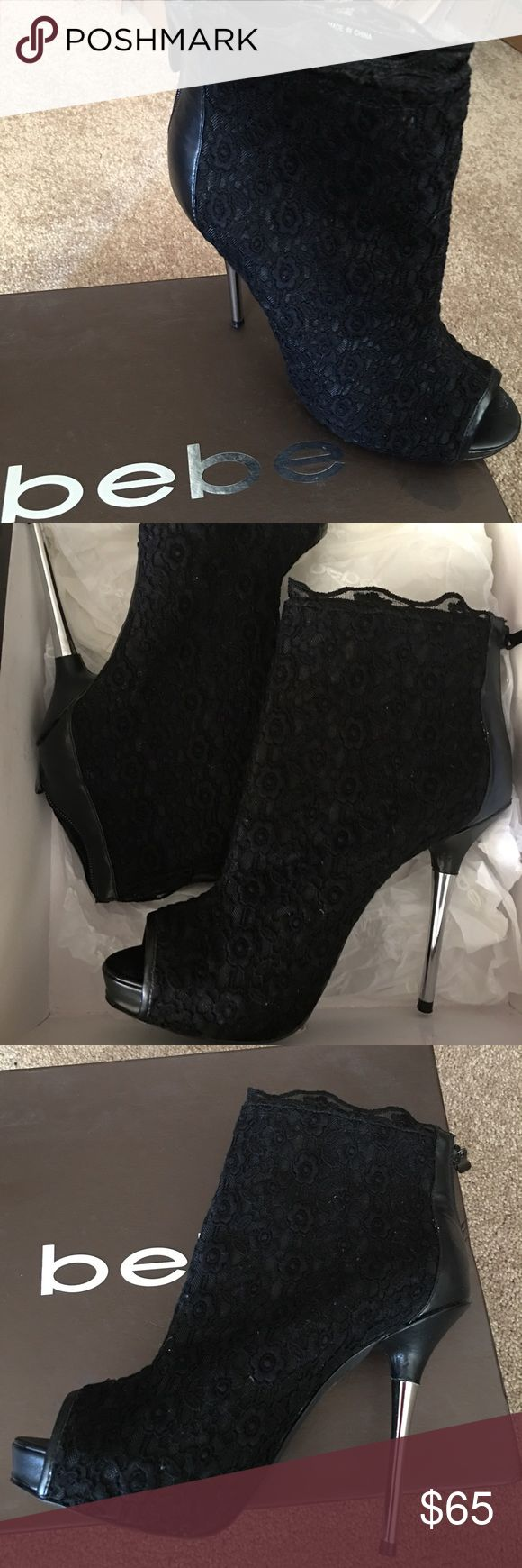 BEBE BLACK LACE BOOTIES WORN TWICE! BEBE FASHION! Bebe Shoes Ankle Boots & Booties