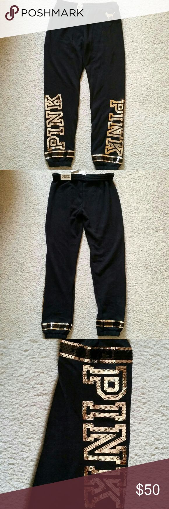 VS Pink Skinny Sweat Pants Brand new, never worn from VS Pink. Each leg on the front says 'pink' in gold sequences while the black has two stripes. PINK Victoria's Secret Pants Track Pants & Joggers