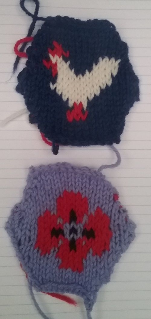 Chicken and field poppy knitted hexagon (inspired by hexipuffs)