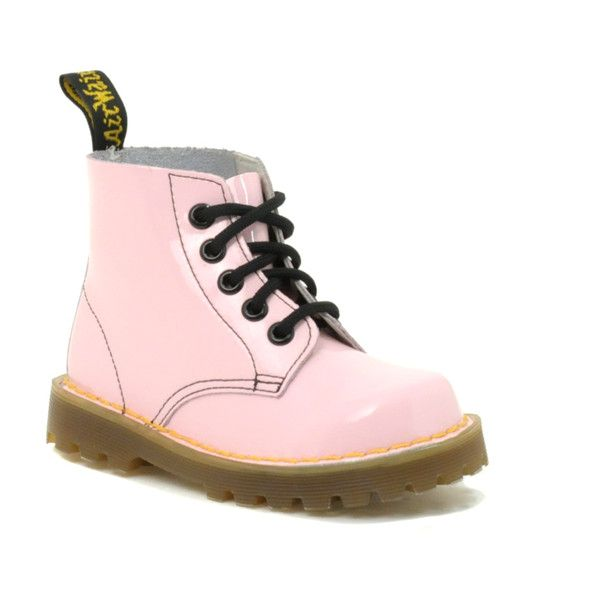 Dr Martens Baby Pink Patent Boots ($60) ❤ liked on Polyvore featuring baby, kids, shoes, baby clothes, baby stuff, boots, kidswear y unisex