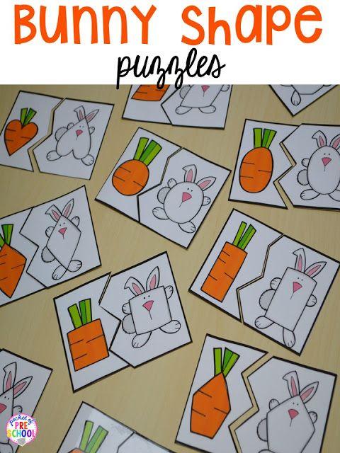 Easter Bunny themed shape puzzles. Plus peeps 5 senses and taste test FREEBIE. For preschool, pre-k, and kindergarten.