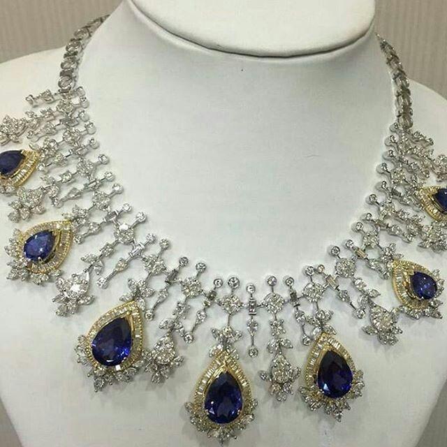 Stunning Diamond  and Sapphire necklace @the_jewell_closet