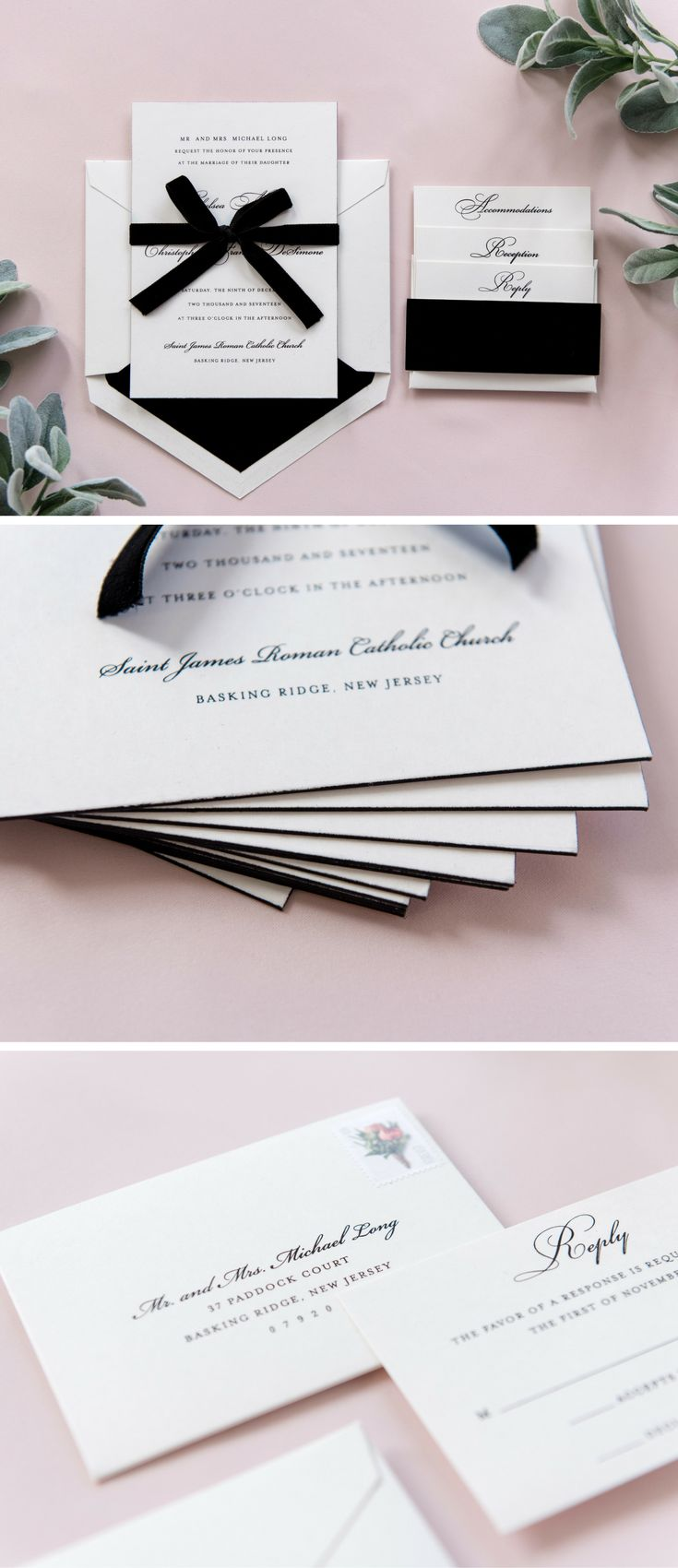 luxury wedding invitations dallas%0A The Chelsea Suite is a black velvet wedding invitation  This threeply  invitation features black edge painting and a delicate black velvet ribbon
