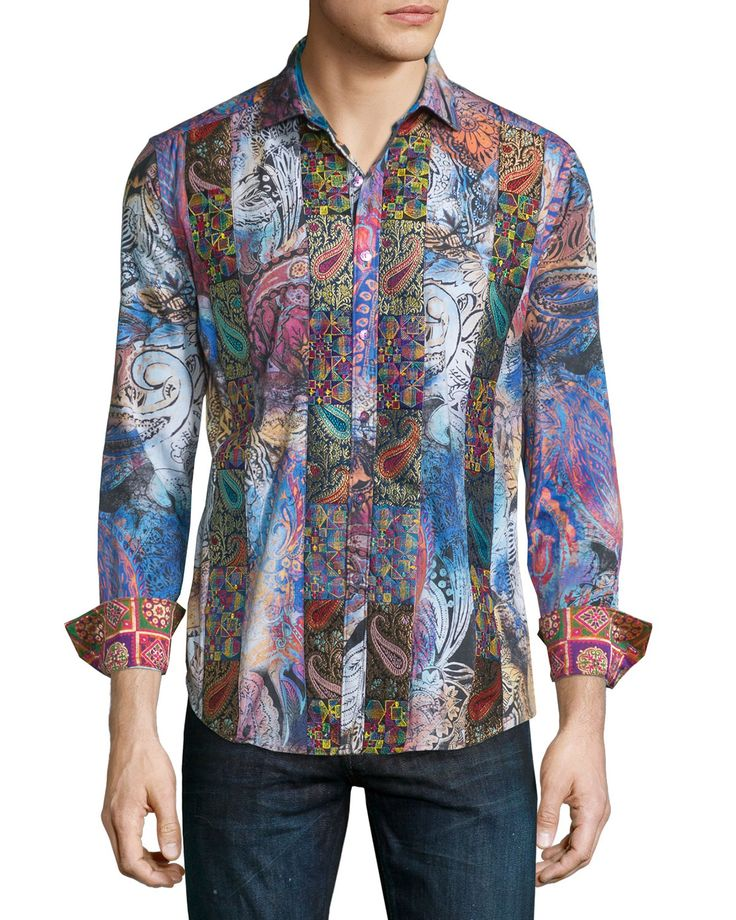 Little Dragon Printed Long-Sleeve Sport Shirt, Multicolor, Men's, Size: XXX-LARGE, Multi Colors - Robert Graham