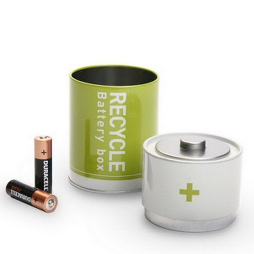 Green Recycle Battery Tin Box Used Batteries Waste Disposal Monkey Business http://smile.amazon.com/dp/B001U33U44/ref=cm_sw_r_pi_dp_ulI8vb1SVMC3X