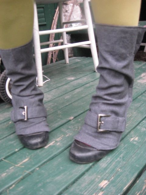 grey wool spats with toe buckle by morgan cleopatra