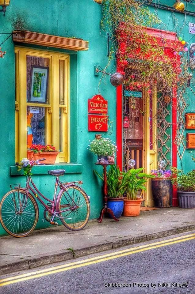Colorful house and bicycle, flower street painting.
