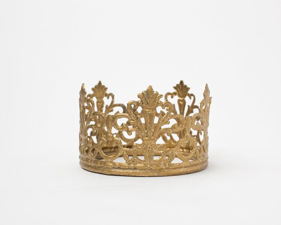 Gold Crown Cake Topper, gold crown, Mini Crown, handpainted and distressed crown
