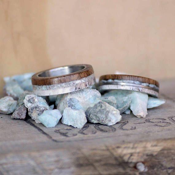 Men/Women's Wedding Ring Set: Antler Inlay Walnut wood