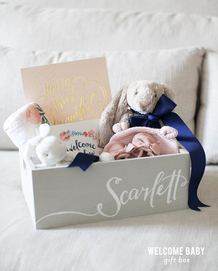 Welcome baby gift box baby box bunny and box negle Gallery