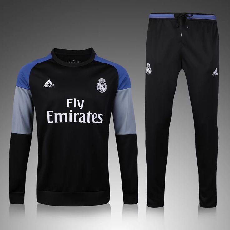 Real Madrid 2016/17 Black Men Tracksuit Slim Fit
