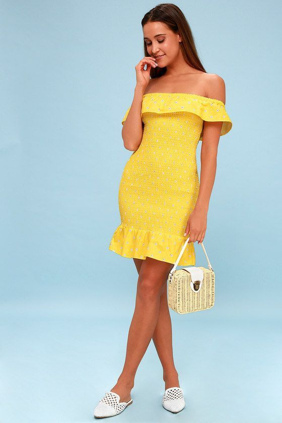 28b27a30550d FIESTA YELLOW FLORAL PRINT SMOCKED OFF-THE-SHOULDER DRESS