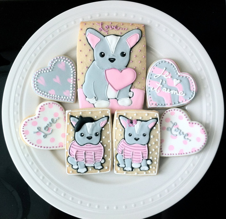 Valentines French Bulldog Puppies, Decorated Sugar Cookies. $42.00, via Etsy.