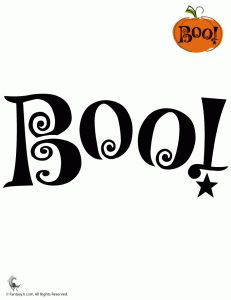 BOO pumpkin stencil...  maybe I'll buy 3 mini foam pumpkins and carve them each with one letter for the window sill! Cute!