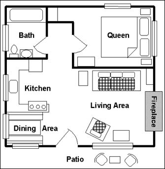 One room cabin floor plans view floor plan main floor for Small living room floor plan