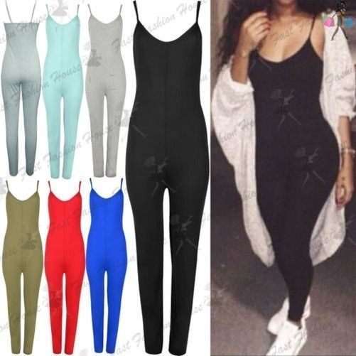 Ladies Thin Strap Cami Playsuit Womens Plain Jersey All In One Jumpsuit Uk 8-14