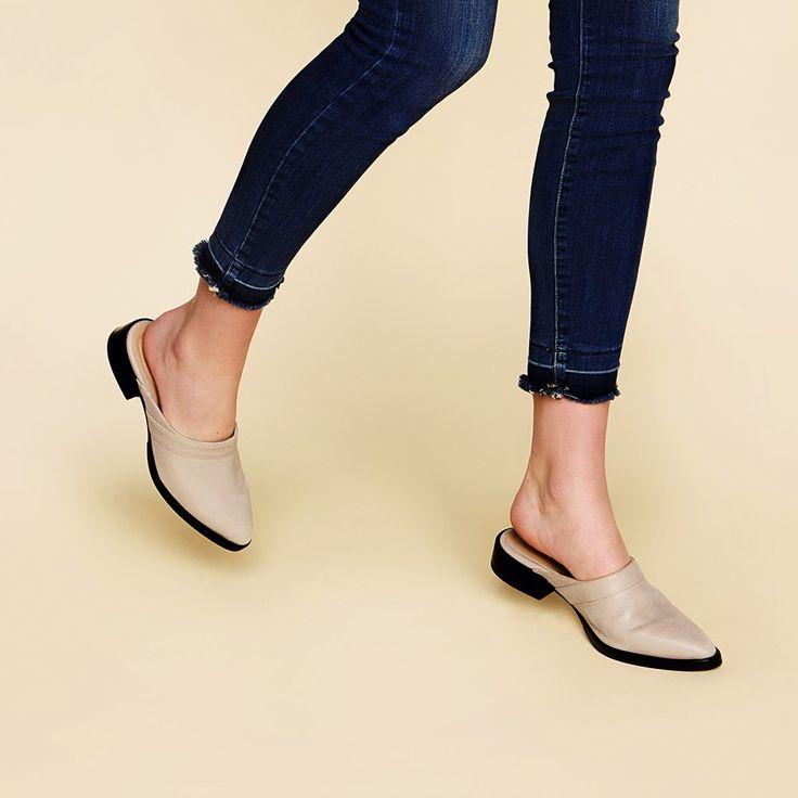The Slide - light grey suede womens close toe shoe - Poppy Barley