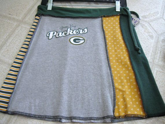 Recycled Tshirt Skirt Green Bay Packers Greens by RecycledWoolies, $30.00 (Other WI teams, too)