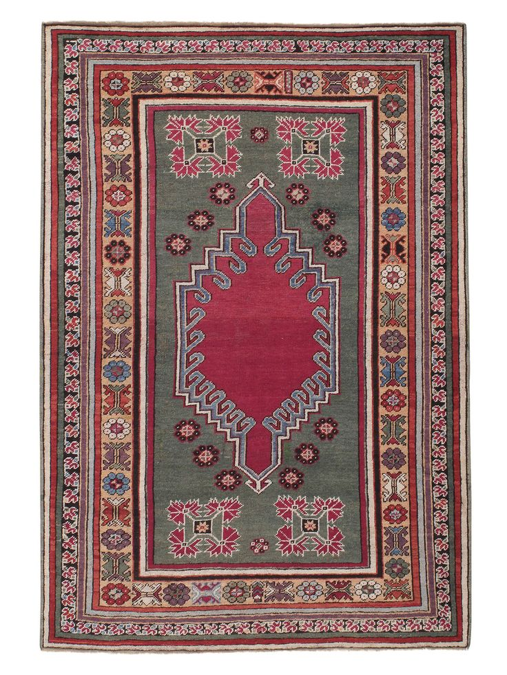 "Antique Kirsehir Rug (DK-89-20) 4'1"" x 5'11"" (123cm x 178cm) Turkey, Central Anatolia: Late 19th Century Knotted pile: wool"