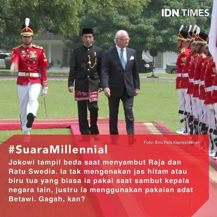 #Jokowi tampil beda ketika menyambut #RajaSwedia Carl XVI Gustaf dan #Ratu Silvia di #IstanaKepresidenan, Bogor, Senin (22/5/2017) siang. . Tak mengenakan jas hitam atau biru tua andalannya, justru ia mengenakan pakaian khas #Betawi. Ia memakai #beskap hitam lengkap ditambah dengan rantai emas serta kain bercorak merah putih lalu dipadukan celana panjang hitam, padu padan itu membuatnya tampak gagah. .  Sedangkan, Ibu negara Iriana mengenakan kebaya, kain dan selendang yang warnanya serba…