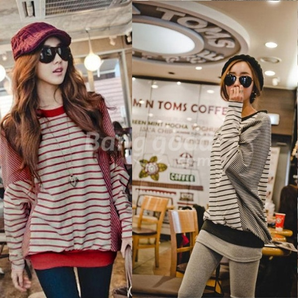 2012 Fashion Women Patchwork Batwing Stripe Long Sleeve T-shirt Tops Red Black US$12.60