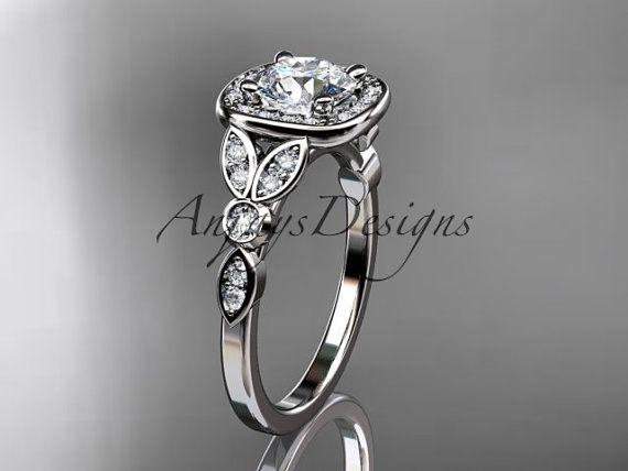 anillo de diamante platino hoja y vid boda, anillo de compromiso ADLR179