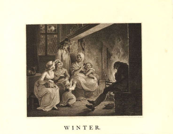 A woman sitting beside the hearth, holding up one hand as she tells a story to two young women sitting on the left, one with scissors and a work-basket, a young man standing in a smock and neckerchief and two children, one of whom clings to her arm, with expressions of fearful excitement, while a man sleeps on the opposite side of the fire, with a book at his feet; after Hamilton.  1795  Etching and stipple