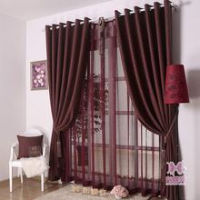 Top Quality Linen Curtains Fabric for Living Room Four Solid Colors Blackout Decorative Door Curtain Free Shipping(China (Mainland))