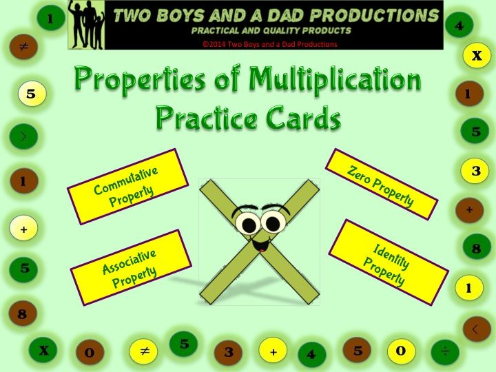 This is a set of 16 cards (1 set is in color, the duplicate set is in grayscale) that can be used in many ways for students to practice or memorize the following properties of multiplication:  --Commutative Property of Multiplication --Associative Property of Multiplication --Zero Property of Multiplication --Identity Property of Multiplication  There are 4 cards for each property.