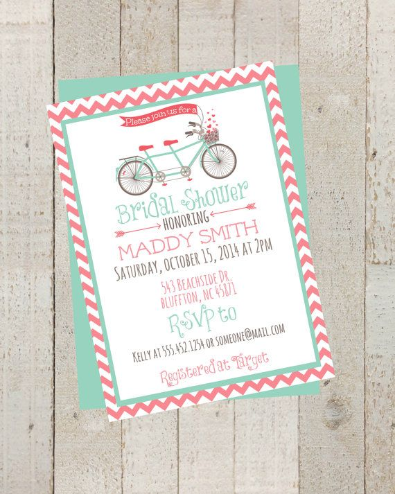 Bike Pink Chevron Bridal Shower Invite, Simple Casual, Digital File, Rustic Chevron Wedding, Vintage Bike Invite by themilkandcreamco, $10.00