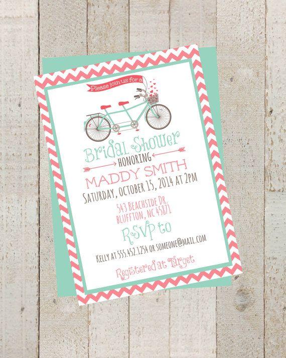 Bike Pink Chevron Bridal Shower Invite, Simple Casual, Digital File, Rustic Chevron Wedding, Vintage Bike Invite by themilkandcreamco, $10.00