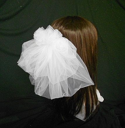Bubble Short Pouf Wedding Veil White Bubble Veil by IrmasElegantBoutique