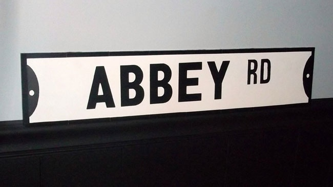 Decorate with Hand Crafted Road Signs. Abbey Road. http://rockinmississippi.com/spread-it/rock-the-flock/the-rock-n-roll-home-blog