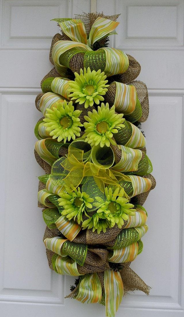 Natural Burlap Door Swag Gerber Daisy Wreath by dottiedot05