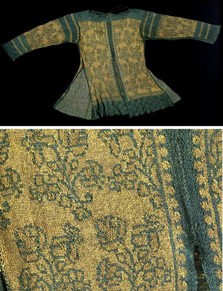 Tunique tricotée à la main, en fil de soie et fil d'argent,  Italie ou Angleterre, vers 1600-1625