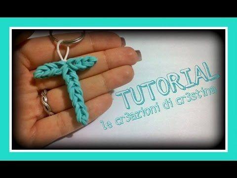 Tutorial Lettera T con Elastici RAINBOW LOOM - DIY Charm Lettere dell'Alfabeto - YouTube