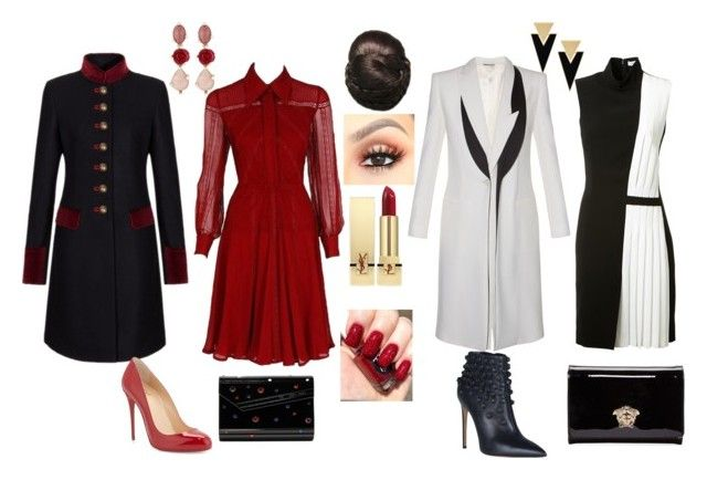 cocktail time by yasmina33 on Polyvore featuring Valentino, Thierry Mugler, Alexander McQueen, FAY, Christian Louboutin, Dsquared2, Versace, Jimmy Choo, Yves Saint Laurent and Oscar de la Renta