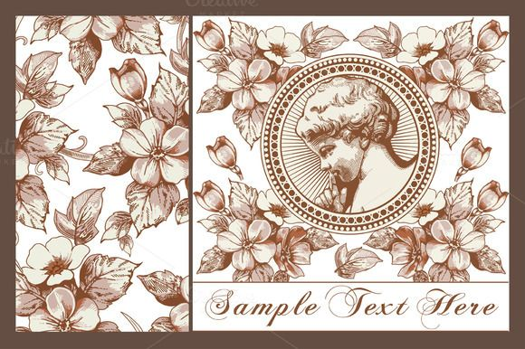 Set. Angel. Flowers. Greeting card. by Vintage on @creativemarket