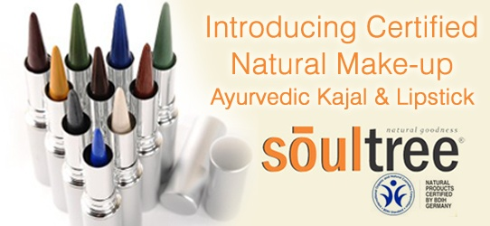 Sacred of using chemicals on your lips and eyes but still want to look good. Try Soul Tree- India's only Natural MakeUp Brand ! Multiple shaded of Handmade Kajal and Lipstick Available.  Only BDIH certified natural brand available in India