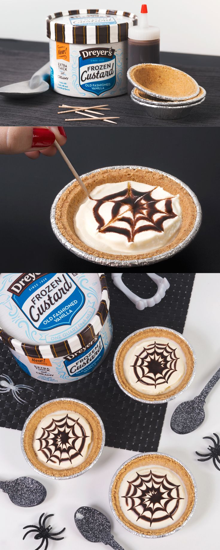 It's spooky how delicious this easy, no-bake Halloween dessert recipe is – and your kids will love it! Begin by filling a pie shell with Old Fashioned Vanilla Frozen Custard. Then, drizzle chocolate syrup in a spiral pattern on top. Simply take a toothpick and drag it from the center of the pie through the syrup until it reaches the crust. Continue this step until your final spider web creation is complete!