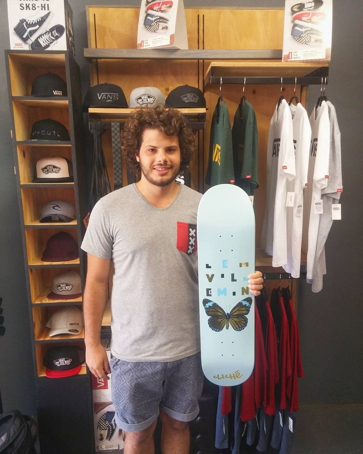 """The dude @roux_v came by to pick up a fresh 8.125"""" @clicheskate x @lemvillemin """"Papillon"""" deck & a set of the 55mm @enjoi Panda wheels for himself. Enjoy it stay stoked skate safe & happy holiday!  #csskateshop #csskateshopfam #whichclicheareyou #cliche"""
