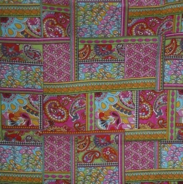 Tissu de qualité avec de belles gravures idéales pour les vêtements et déco maison ... TY451-100% coton Tissu Rétro 110cm large Exotique Paisley ethnique Rose Daisy Fleur Feuille vintage pur coton...