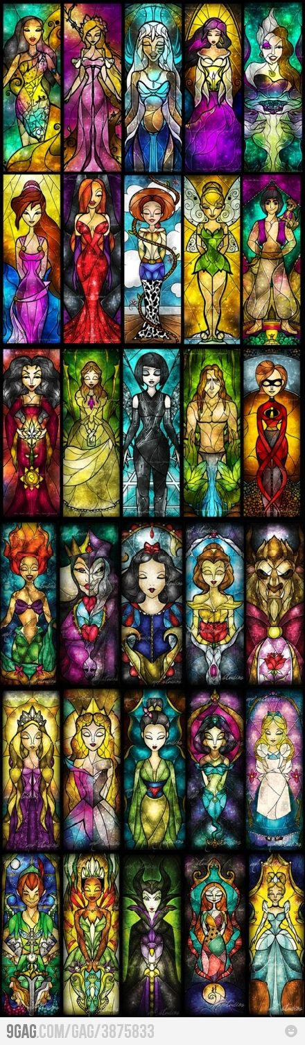 Disney characters in stained glass rendering by Mandie Manzano. LOL Why the fck am I into these Disney shit?
