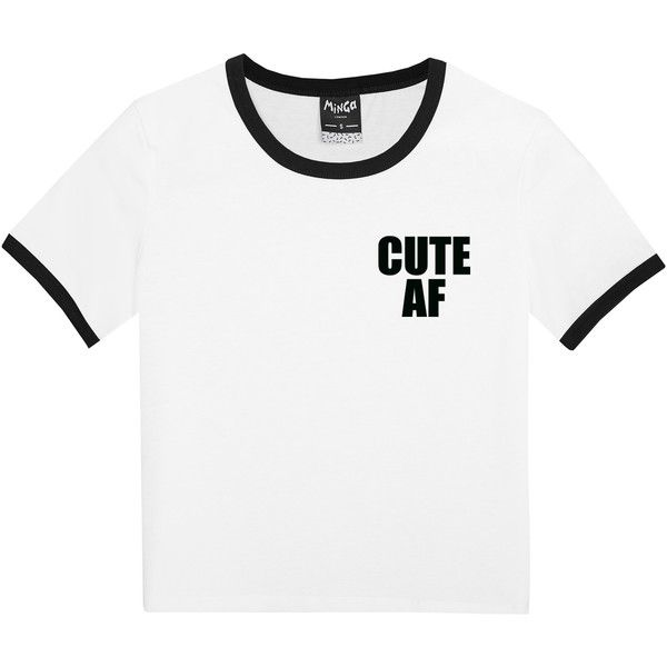 CUTE AF RINGER T-SHIRT (54 BRL) ❤ liked on Polyvore featuring tops, t-shirts, shirts, hipster t shirts, white babydoll shirt, goth shirts, goth t shirts and hipster shirts