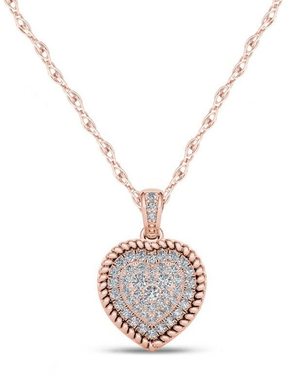 Zales 1/4 CT. T.W. Composite Diamond Heart-Shaped Rope Frame Pendant in 10K Rose Gold