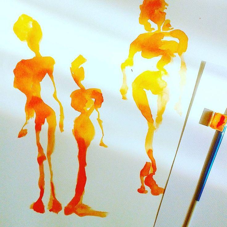 #sketch #people #watercolor