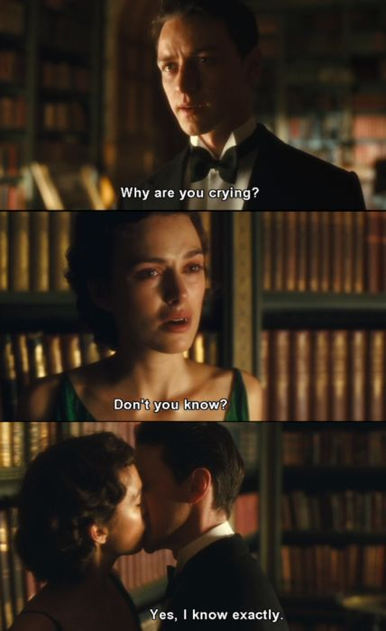 """Robbie: """"Why are you crying?"""" Cecilia: """"Don't you know?"""" Robbie: """"Yes, I know exactly."""" • from Atonement (2007), directed by Joe Wright • based on the novel by Ian McEwan"""